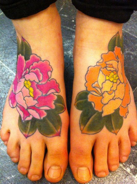 Tattoo Foot Peony On January 9 2012 By